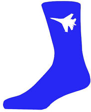 High Quality Blue Socks With a White Fighter Plane, Lovely Birthday Gift