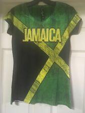 JAMAICA FLAG WOMEN RHINESTINE T-SHIRT BLACK GREEN & GOLD