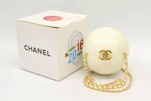 Chanel Chain Shoulder Crossbody Bag Plastic White Pearl Gold Dubai VIP Limited