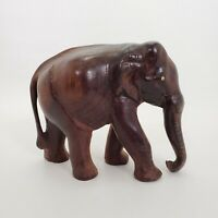 "Wood Elephant Hand Carved 6"" Vintage Animal Sculpture Figure Decor"