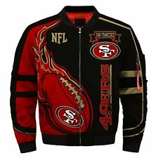 Men's San Francisco 49ers Jacket MA1 Flight Bomber Thicken Coat Football Outwear
