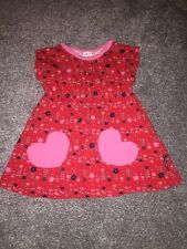 Polarn O Pyret Baby Girl Dress 12-18 months red flowers heart pockets