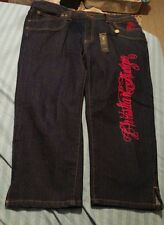 CHRISTIAN AUDIGIER Los Angeles Plus Size Capri Jeans 19/20 Embroidered  NWT