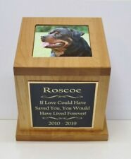 Xl Large Dog Pet Urn Custom Tile Photo & Engraved Tag Red Alder