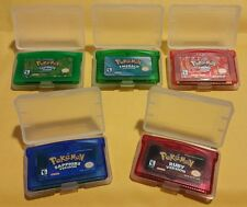 Lot 5 Pokemon Fire Red, Emerald, Leaf Green, Ruby, Sapphire Versions Clear Case