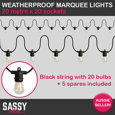 20m String Marquee Lights Weddings Parties Festoon Balloon Weatherproof BLACK