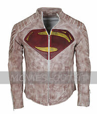 Superman Smallville Man Of Steel Mens Costume Genuine Leather Coseplay Jacket