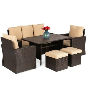 Best 7-Seater Conversation Wicker Dining Table, Outdoor Patio Furniture Set