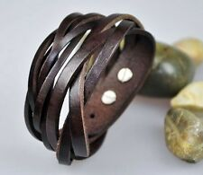 S383 Cool Classic Double Wrap Braid Leather Bracelet Wristband Cuff Coffee BROWN