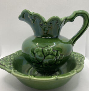Vintage Camark Pottery Pitcher and Basin Wall Pocket Green USA 224