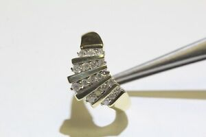 10k yellow gold .50ct SI2 H round diamond channel set womens ring 3.9g size 9