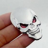 Metal Silver 3D Skull Skeleton Car/Motorcycle Decal Devil Sticker Emblem Badge