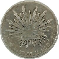 1887 MEXICO 8 REALES SILVER - Mo MH  KM# 377.10 - NEAT CHOP MARK (11212008)