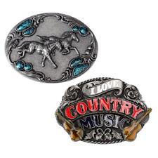 2pcs ovale Vintage country musique ceinture boucle Western Cowboy