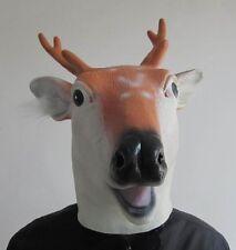 Reindeer Full Head Latex Mask Deer Rudolf Fancy Dress Costume Animal Deers Head