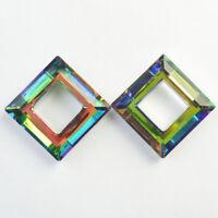 30x30x8mm 2Pcs Faceted Multicolor Titanium crystal Agate Square Pendant Bead NN8