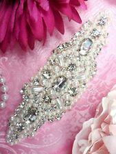 """JB132 Rhinestone Applique Pearl Crystal Clear Glass 5.5""""  DIY Bridal embellish"""