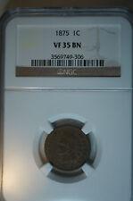 1875 VF 35 BN NGC INDIAN HEAD Penny * Nice Coin *