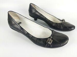 Bertie Black Leather Low Heel Slip On Shoes Uk 3 Eu 36