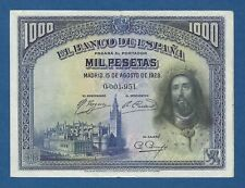 ESPAÑA // SPAIN -- LOW # : 0001951 -- 1000 PESETAS ( 1928 ) -- EBC- -- PICK 78 .