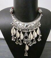Statement Fashion Jewelry Shell Pendant Necklace Choker Boho Gypsy Kuchi Tribal