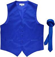 """New Men's Formal Tuxedo Vest Waistcoat_1.5"""" skinny Necktie royal blue prom"""