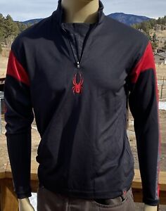 Men's Spyder LS Pullover 1/4 Zip Base Layer Shirt Small Black Red Skiing Hiking