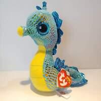 "Neptune the Seahorse - Ty Beanie Boo Plush - Style 36021 - Regular 6"" 15cm - NEW"
