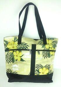 Tropical Flower Tote Purse Shoulder Bag Beach Travel Hibiscus Palms Beige Black