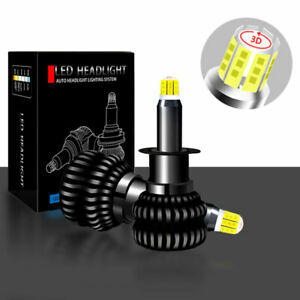 2PCS 360° 8-Sides H1 LED Headlight Bulbs Kit Conversion Light 6500K White Lamp