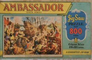 Vintage Ambassador Building Galleon ship boat Jigsaw puzzle 800 pieces 1940's