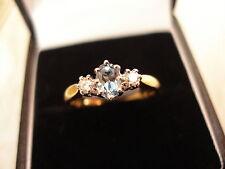 18CT GOLD FINE AQUAMARINE & DIAMOND 3 STONE RING BNIB MADE IN ENGLAND QUALITY