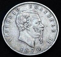 Italie . Vittorio Emanuele II 5 Lire 1870 R Rome