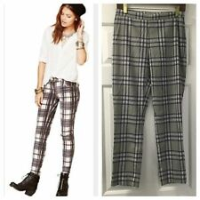NEW Free People Flannel Plaid Skinny Leg Pants Size 4 Gray/Purple