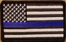 USA Flag Morale ARMY Patch W/ VELCRO®  Brand Fastener B & W Thin Blue Line #1
