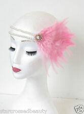 Rosa E Bianco Perla Piuma Maschietta Accessorio Capelli Anni '20 Fascia