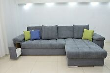 NEW CORNER SOFA BED ''MIKE'' COMFY,CORD FABRIC, DRAWER IN THE ARM, ALL COLOURS
