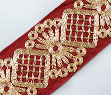Wide Red Trim, Embroidered With Metallic Gold. 3 Yards.