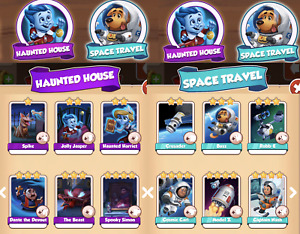 coin master sets: haunted house  & space travel  sets (12 white  cards- 1 each )