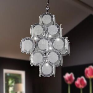 Hanging Chandelier 11 Lights Glass Fusion Modern Clear Fabric White