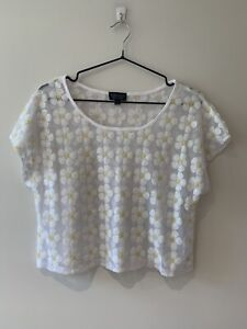 Topshop Cropped Boxy T-shirt Sheer Sequin Daisy Festival Summer Party Top