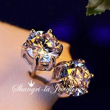 18K White GOLD GF SILVER 10mm STUD EARRINGS Swarovski DIAMOND EX624 Wedding NEW