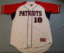 Patriots # 18 jersey Rawlings white stitched sewn size 42 button up - new & nice