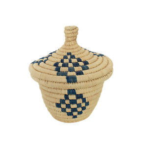"Rope Basket with Lid 8.5"" Tall X 7"" W Tan & Indigo"