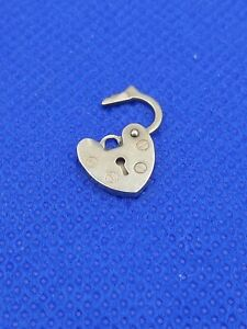 9 Carat Yellow Gold Heart Padlock for Bracelet 0.7g