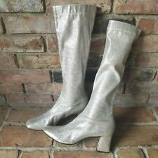 """Vintage 60's Silver Glitter 14"""" Tall Mod GoGo Boots Women's 7.5 B with 2"""" Heel"""