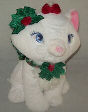 Disney Stores Aristocats Marie White Kitty Cat Plush Christmas Bow Holly Collar