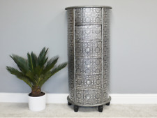 BLACK SILVER EMBOSSED HALF MOON TALL BOY SLIM CHEST DRAWERS (DX3079)