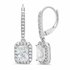 Dangle Designer Earrings 14k White Gold 3.47ct Emerald Cut Halo Leverback Drop