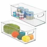 mDesign Stackable Plastic Storage Bin for Art and Craft Supplies - Clear